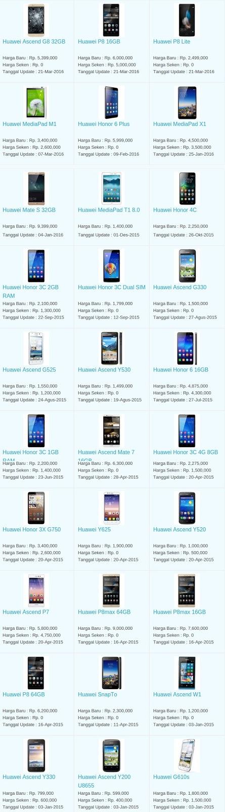 Daftar Harga Terbaru Hp Huawei April 2016