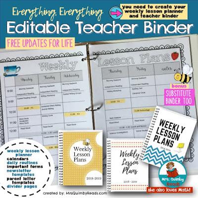 editable teacher binder, lesson planner