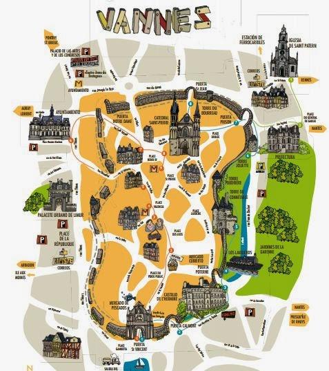 Mapa turístico de Vannes.