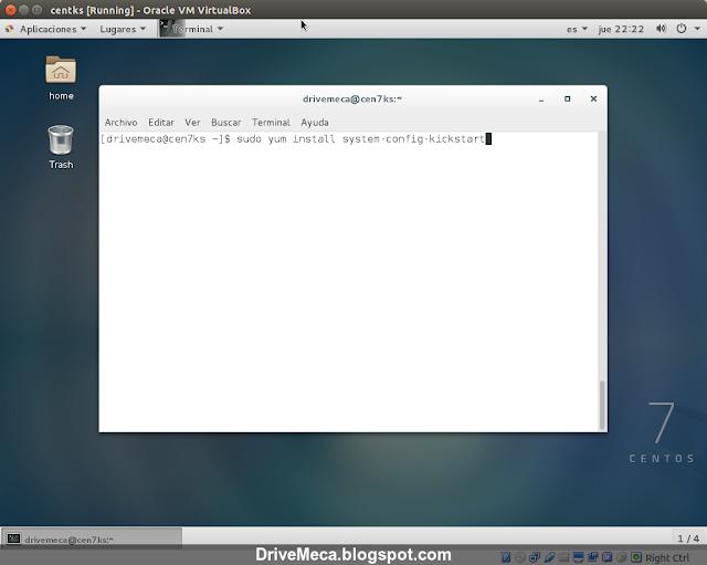 DriveMeca instalando Linux Centos con kickstart de forma automática