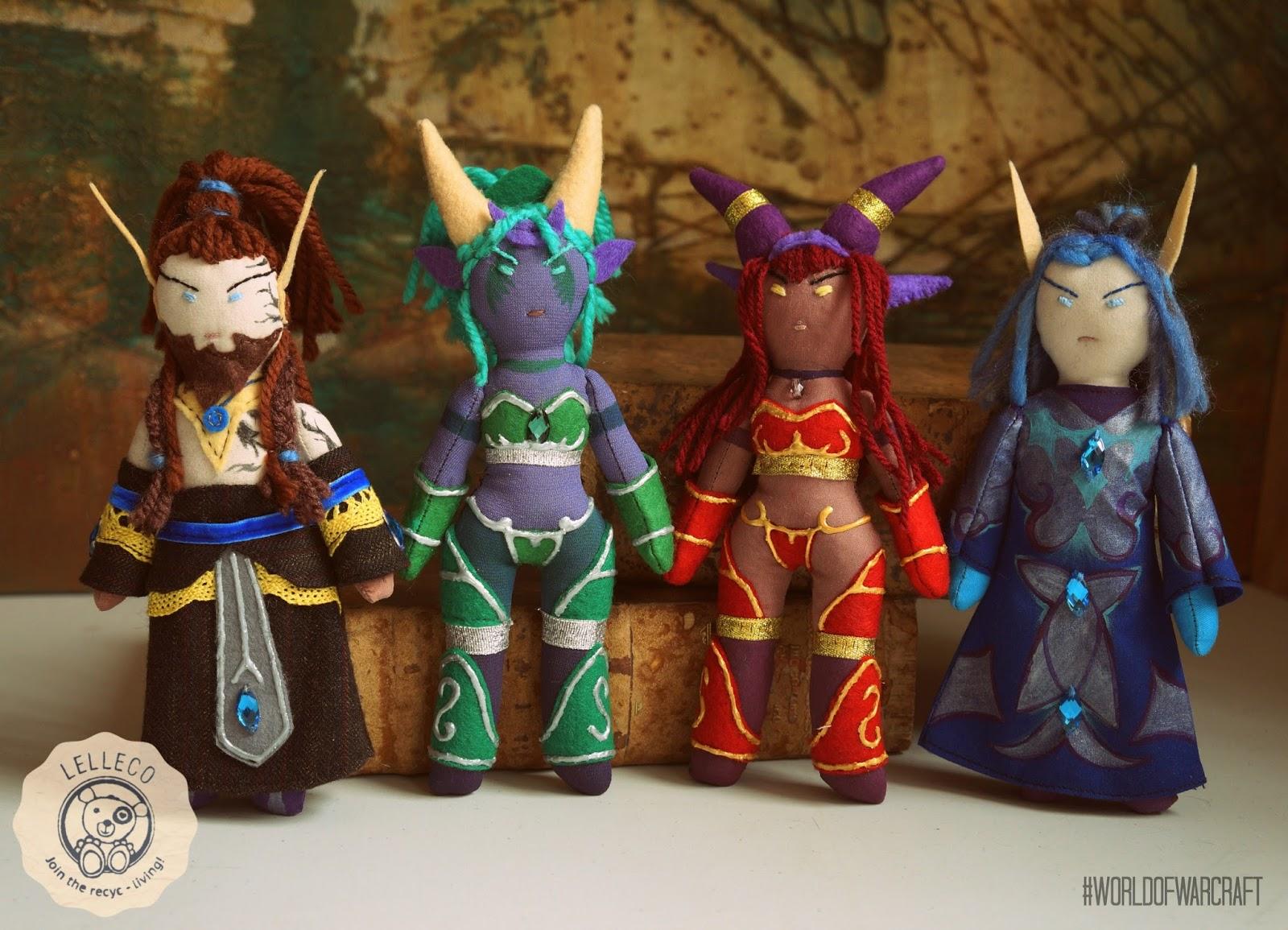 Muñecos personalizados de Nozdormu, Ysera, Alextrasza y Malygos. World of Warcraft.