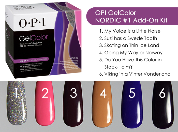 OPI GelColor Nordic #2 Add On Kit Swatches