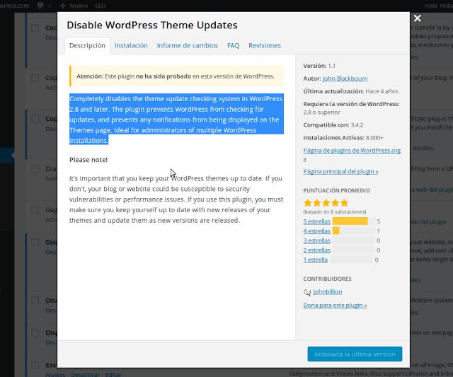 Plugin para desactivar las actualizaciones de las plantillas de WordPress