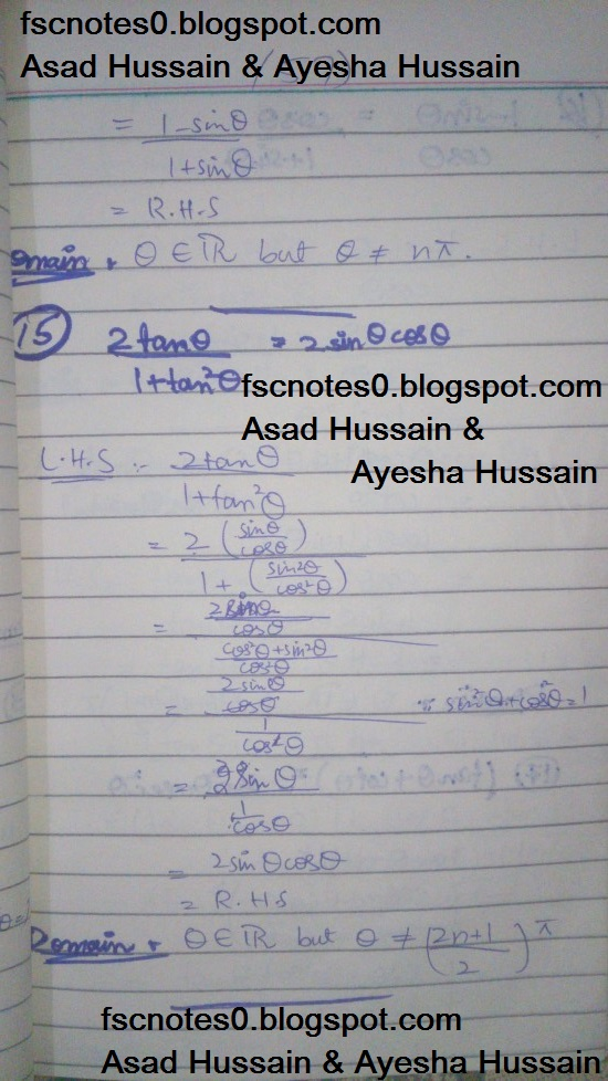 FSc ICS FA Notes Math Part 1 Chapter 9 Fundamentals of Trigonometry Exercise 9.4 Question 11 - 15 by Asad Hussain & Ayesha Hussain 3