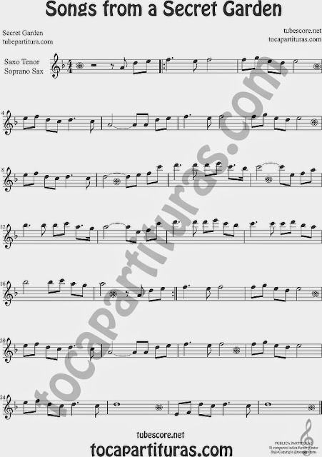 Songs from a Secret Garden Partitura de Saxofón Soprano y Saxo Tenor Sheet Music for Soprano Sax and Tenor Saxophone Music Scores