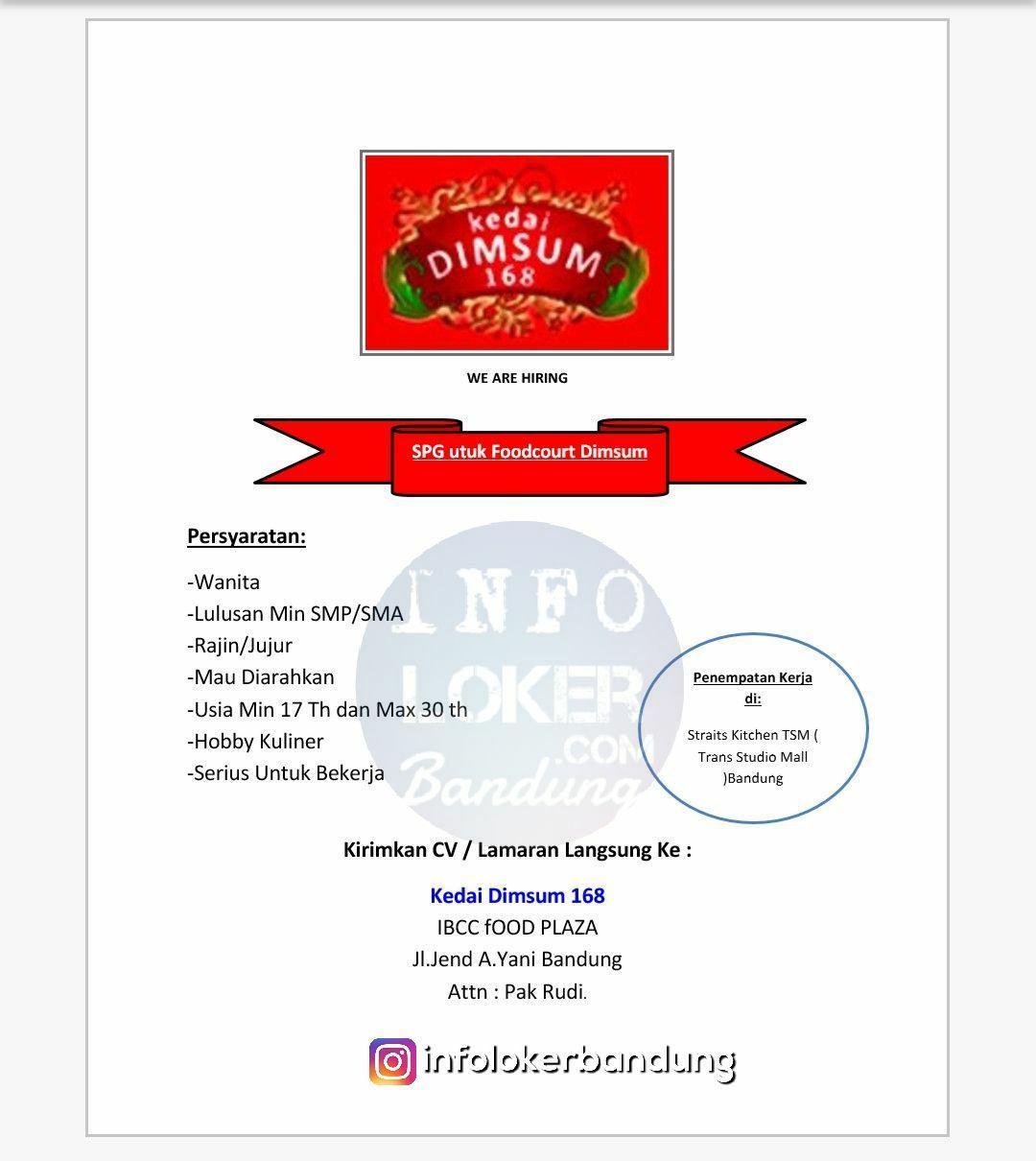 Lowongan Kerja Kedai Dimsum 168 Bandung Februari 2018