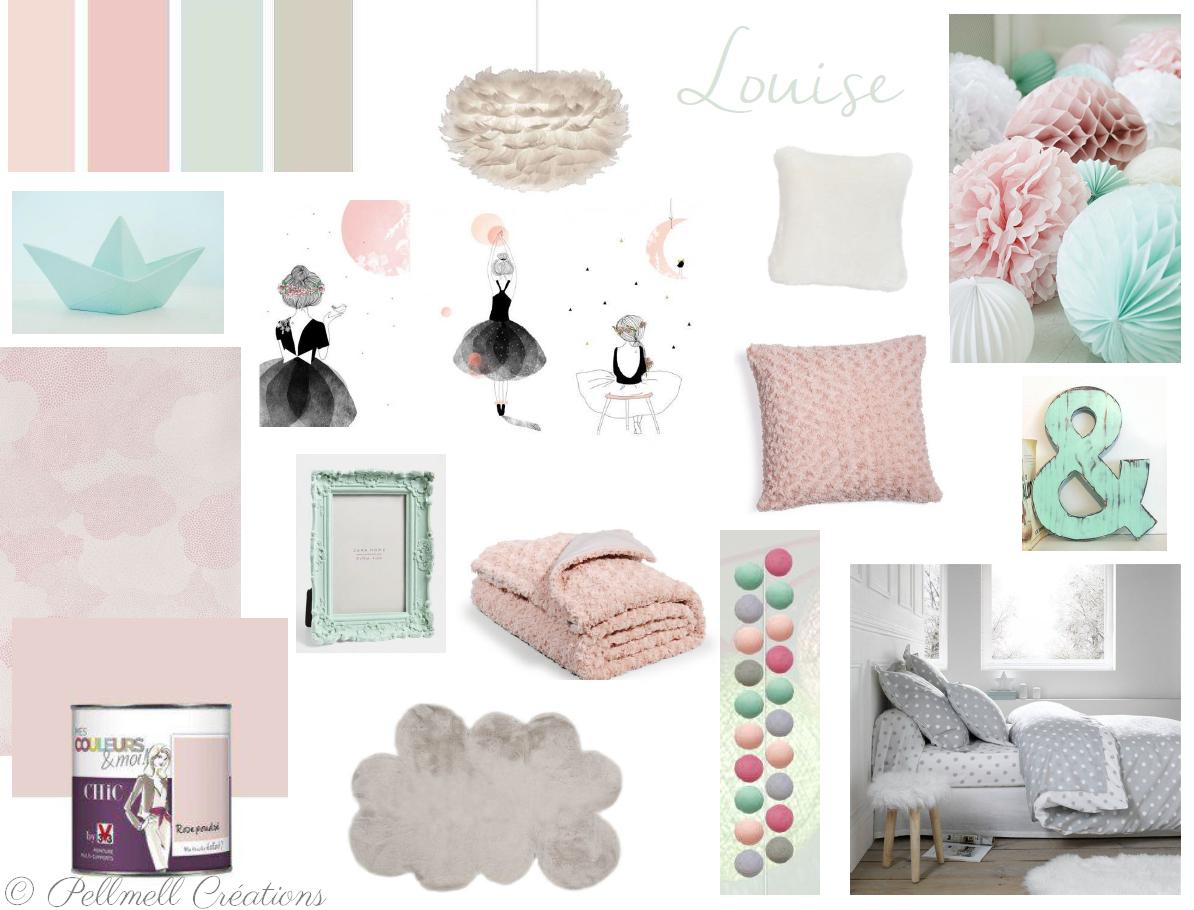 Chambre Rose Poudré Fille planche d'inspiration pour une chambre rose poudrée