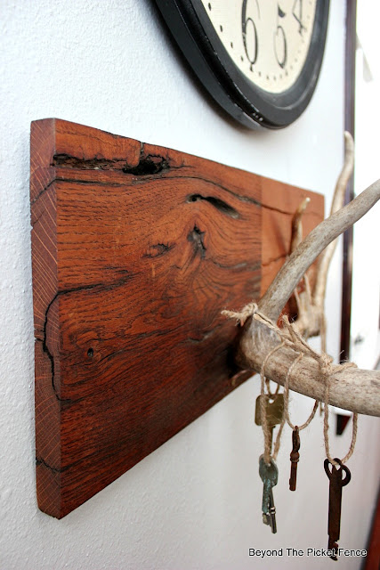reclaimed wood, copper, antlers, metallic, Fusion Mineral Paint, rustic decor, chic decor, antler chic, old keys, http://bec4-beyondthepicketfence.blogspot.com/2016/01/rustic-chic-marriage-contracts.html