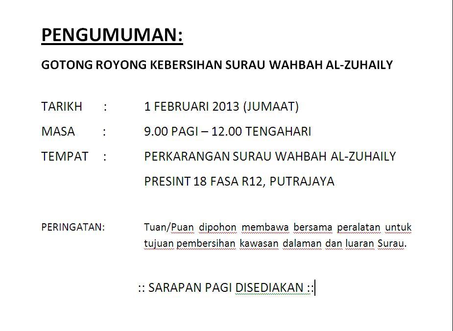 Surau Wahbah Al Zuhaily Presint 18 Putrajaya Gotong Royong