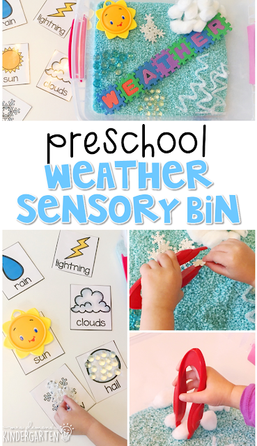 We LOVE this weather I-spy sensory bin. Perfect for reinforcing science vocabulary in tot school, preschool, or even kindergarten