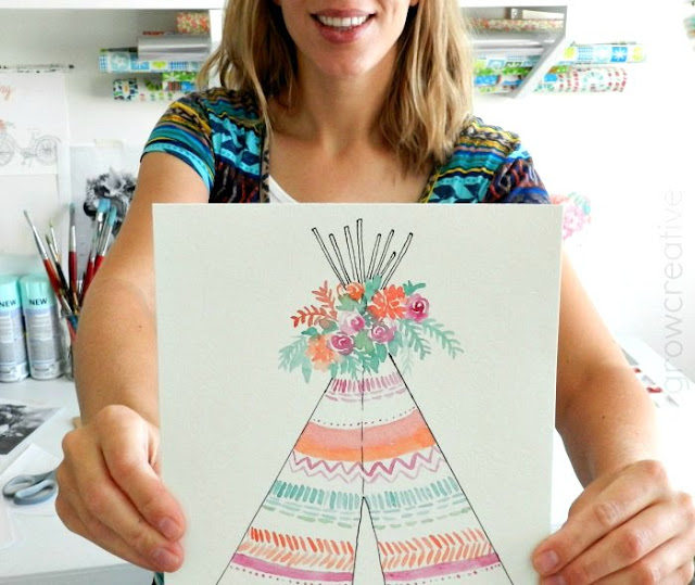 Boho Watercolor Teepee by Elise Engh