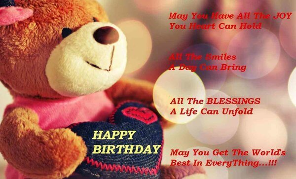 Happy Birthday quotes images for Friend with teddy & love heart