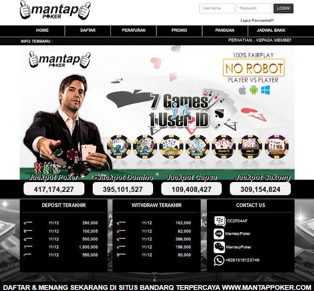 Mantappoker - Bandar Sakong, Bandar Q, Domino QQ, Bandar Adu Q,Poker Online, Bandar Poker, Capsa