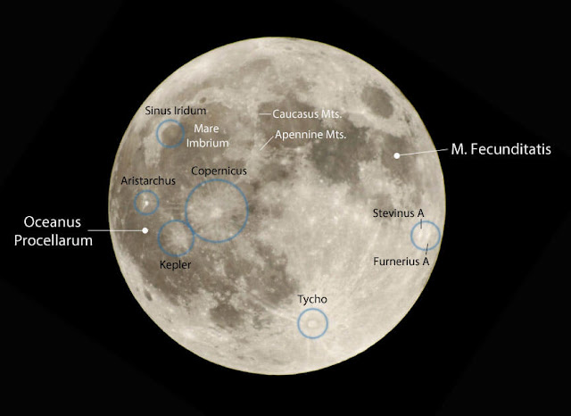 See if you can identify these noteworthy features around the time of full Moon. Some of the most prominent craters display bright rays: splashes of impact debris. Image by Bob King.