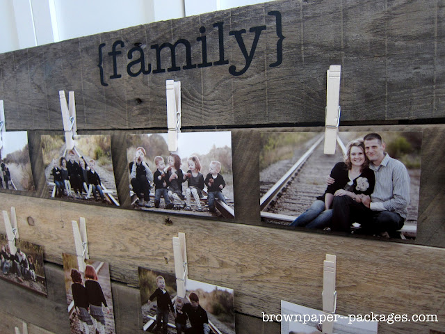 Brown Paper Packages Wood Pallet Photo Display