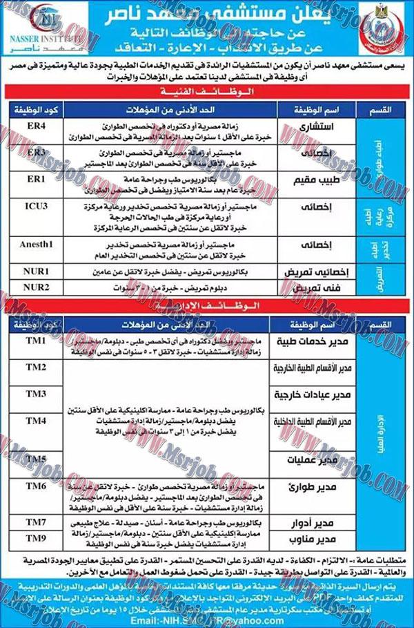 وظائف وزارة الصحة - مستشفى معهد ناصر منشور اليوم 10 / 11 / 2017