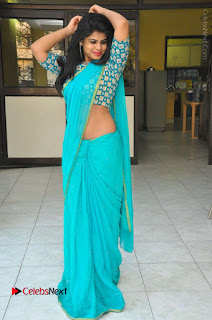 Telugu Actress Alekhya Stills in Green Saree at Swachh Hyderabad Cricket Press Meet  0107.JPG