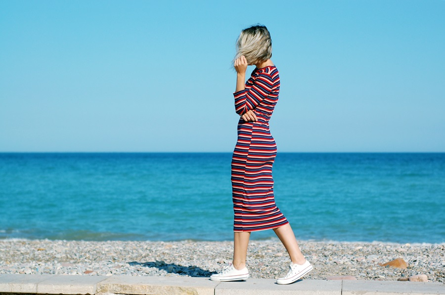 midi stripes dress pull&Bear Converse littledreamsbyr