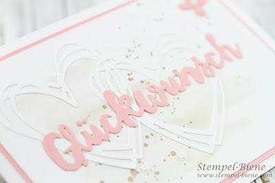 Glückwunschkarte Hochzeit; Hochzeitsarbeiten; Hochzeitskarte STampinup; Glückwunschkarte stampinup; Stempelbiene; Thinlits Grüße voller Sonnenschein; Aquarelltechnik Hochzeitskarte; Stampinup Winterkatalog