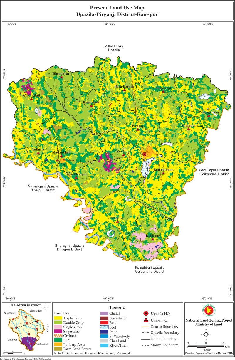 Pirganj Upazila Mouza Map Rangpur District Bangladesh