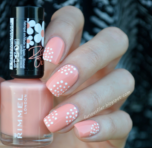 #31DC2015 orange dotts peachella simple manicure