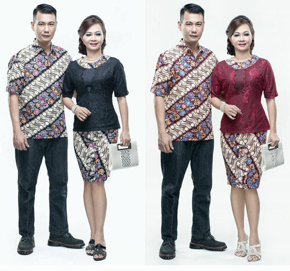 Batik Kerja Couple Terbaru: Model Baju Batik Couple Lengan Pendek Motif Parang