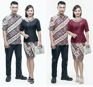 Model Baju Batik Couple Lengan Pendek Kombinasi Broklat