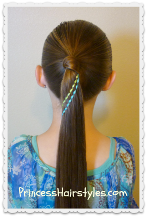 Double waterfall ribbon braid ponytail hairstyle