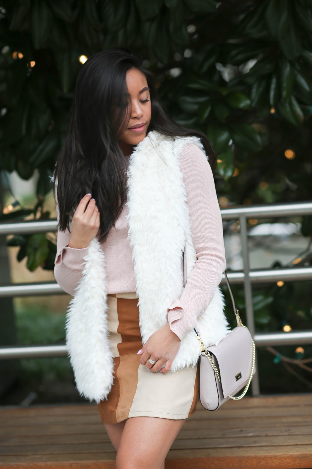 How to Style a Tan Suede Skirt: Sweet
