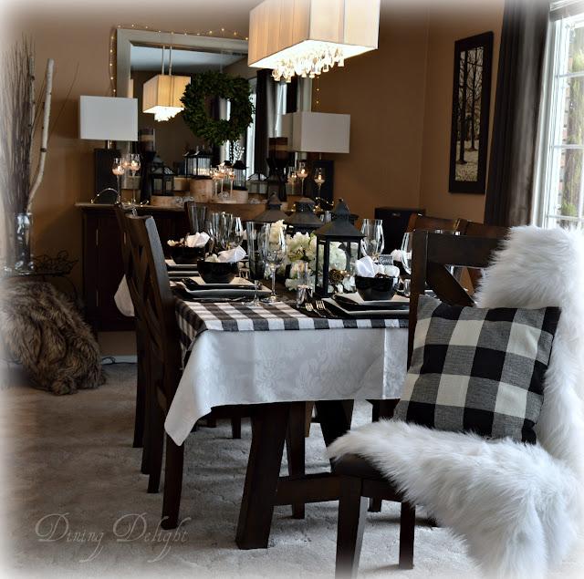 Dining Delight: Black Lanterns & Buffalo Check Tablescape
