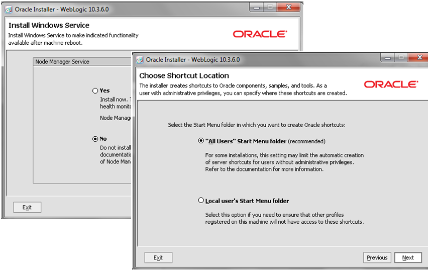 Weblogic10.3.6_Installation_Settings