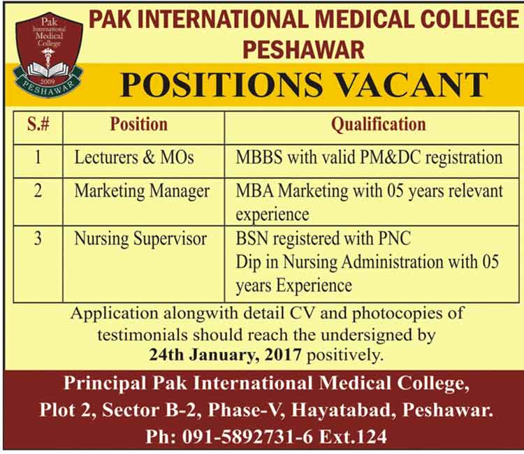 Pak International Medical College Peshawar Teaching Staff Jobs