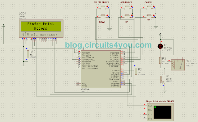 Finger print based security system circuit diagram