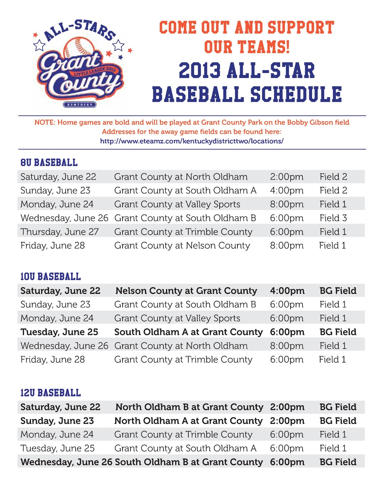Grant county ky little league all star baseball schedule for Baseball schedule template free