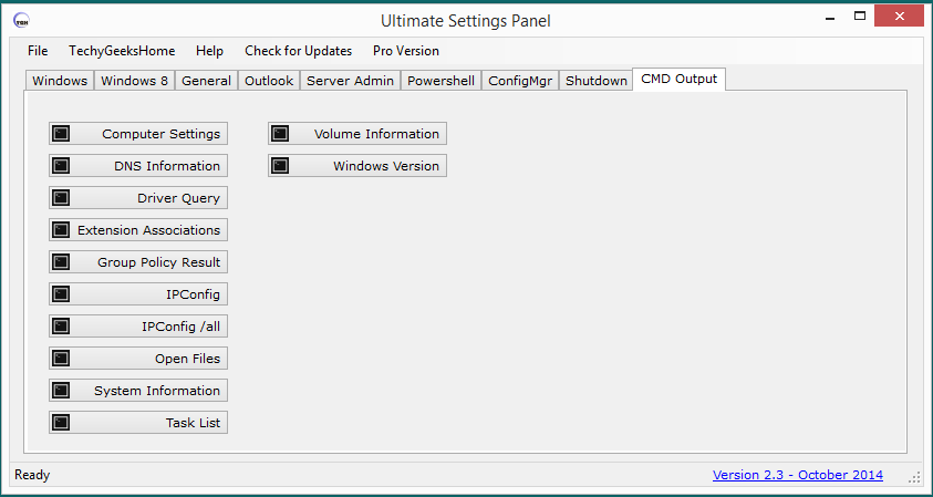Ultimate Settings Panel CMD Output Panel