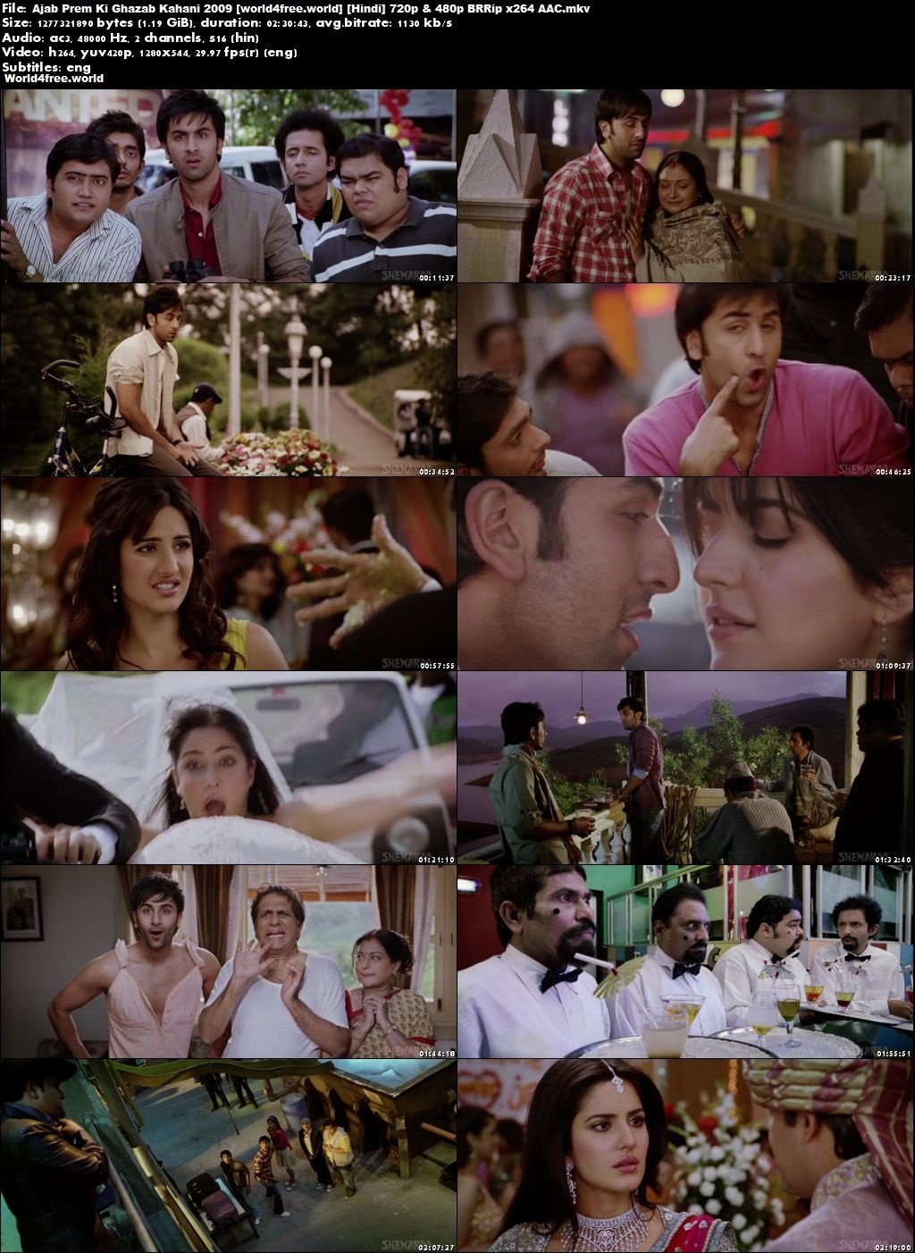 Screen Shoot of Ajab Prem Ki Ghazab Kahani 2009 Full Hindi Movie Download 720p BRRip