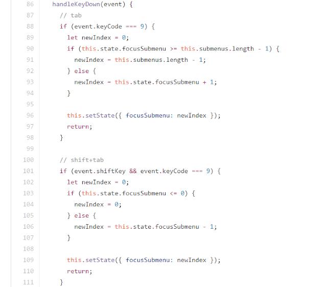 tab and shift-tab key code example