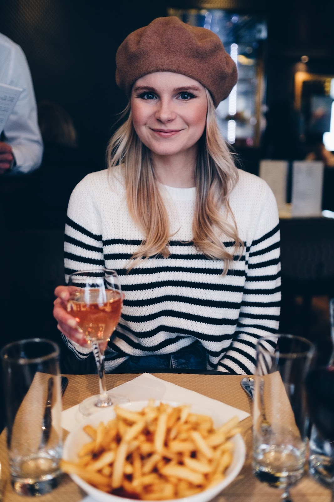 french friies, beret and wine in france