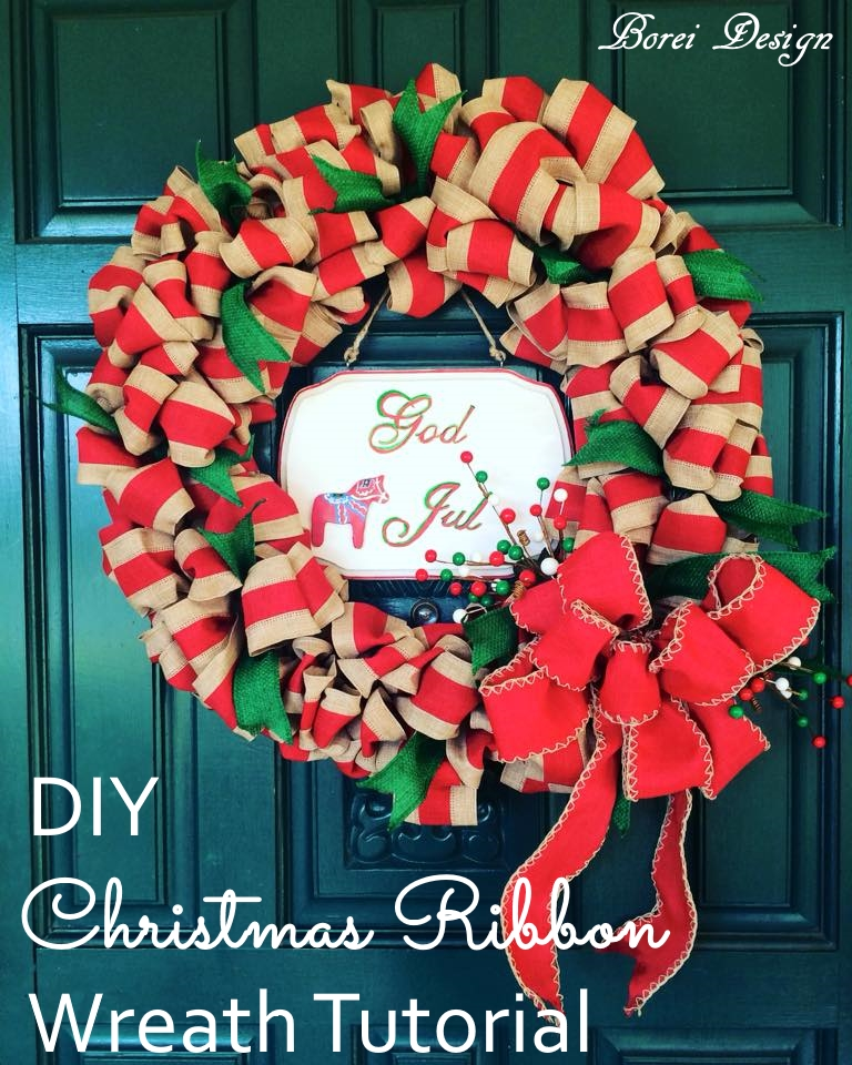 diy craft tutorial how to make a christmas ribbon wreath - Hobby Lobby Christmas Wreaths