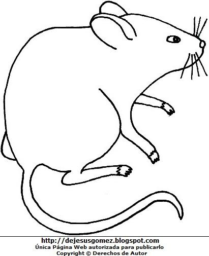 Dibujo de una rata fácil para colorear, pintar e imprimir hecho para niños. Dibujo de rata hecho por Jesus Gómez