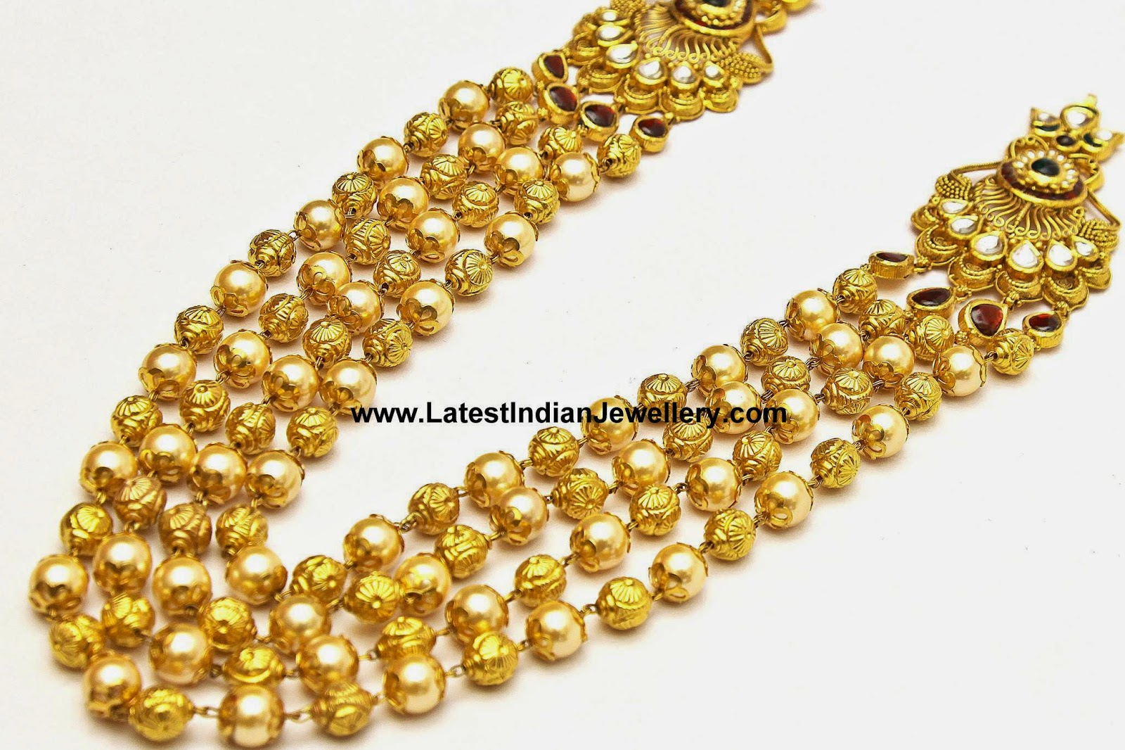 gold beads pearls step mala
