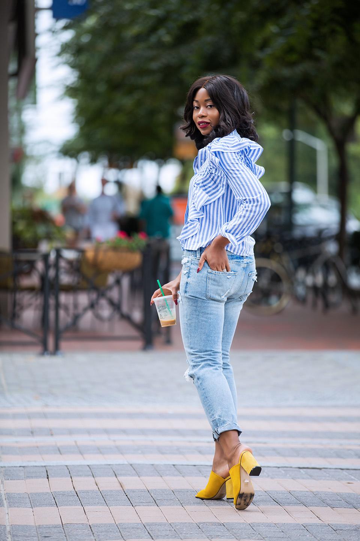 ruffle blouse, girlfriend jeans, www.jadore-fashion.com