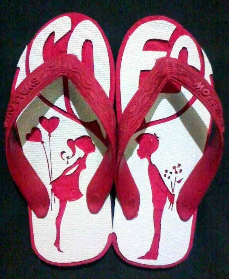 gambar sandal jepit ukiran cinta love