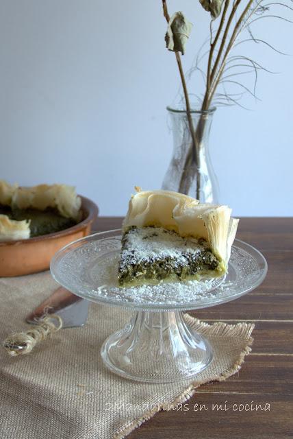 Pastel de espinacas con pasta brick