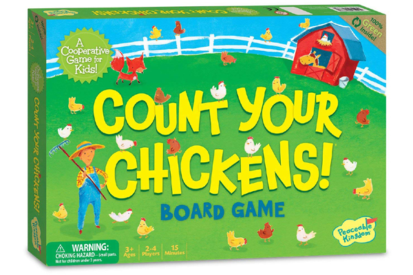 "Count Your Chickens Board Game by Peaceable Kingdom ""A cooperative game for kids"""
