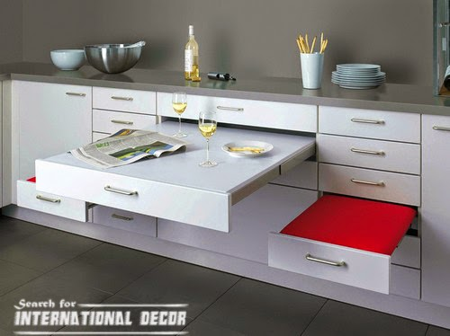 pull out drawers,pull out shelves, retractable table in the kitchen