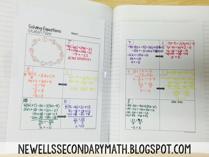 Solving Equations Maze   Mrs  Newell's Math