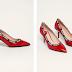 Pantofi cu toc Stilettos de piele rosii moderni Love Moschino