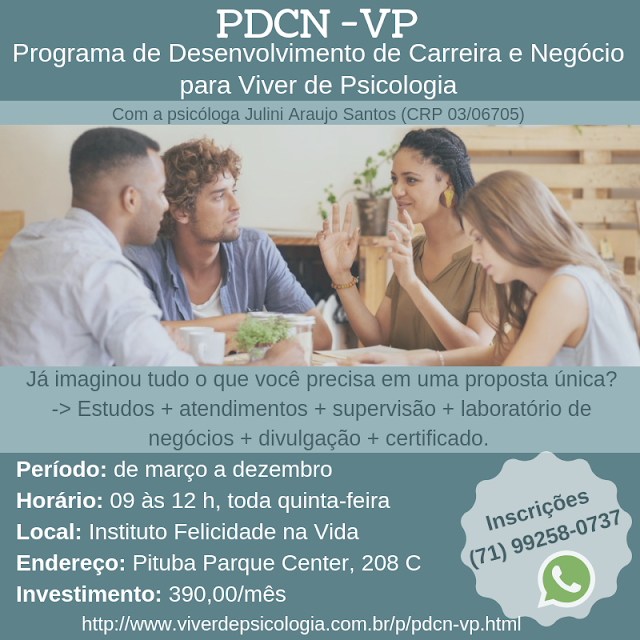 PDCN-VP - Programa de Desenvolvimento de Carreira e Negócio para Viver de Psicologia