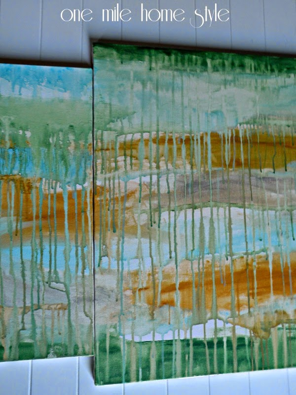 Acrylic Drip Painting - Green, gold, blue and silver